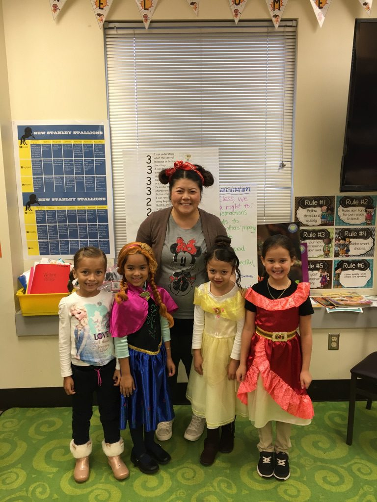 Students and staff participate in Disney Day.
