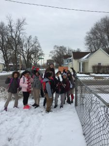 Staff and Students participating in the Walking School Bus on Wednesday. Photo Credit: Mrs. Kerr