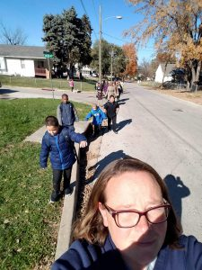 Staff and Students participating in the Walking School Bus on Wednesday. Photo Credit: Mrs. Spears