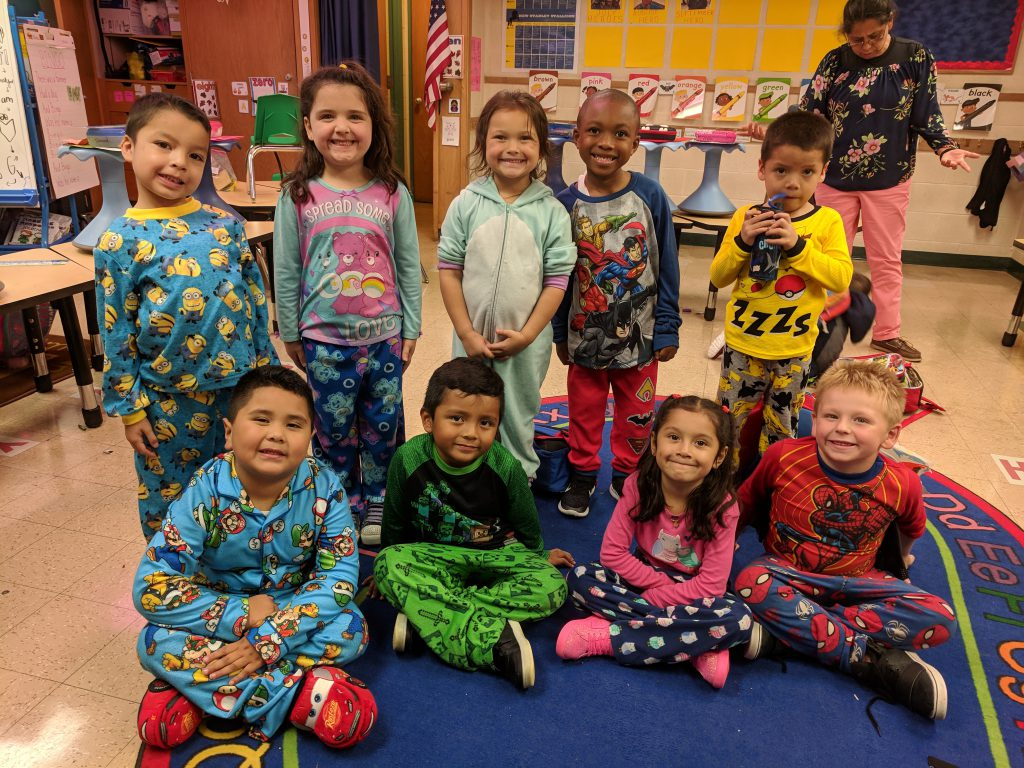 Students participate in PJ Day.