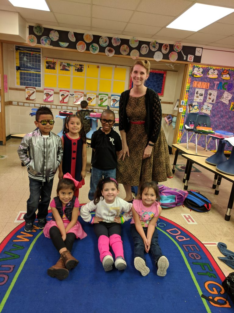 Students and staff participate in Decades Day.