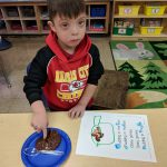 "Kindergarten has been working hard to learn about letters and sounds. Ms. Mayer & Ms. Quaas' class learned about the /p/ sounds with the poem ""Pudding in the Pan."" We then made pudding to put in our own pans. We also found all of the /p/ sounds in our poem! Photo Credit: Ms. Quaas"