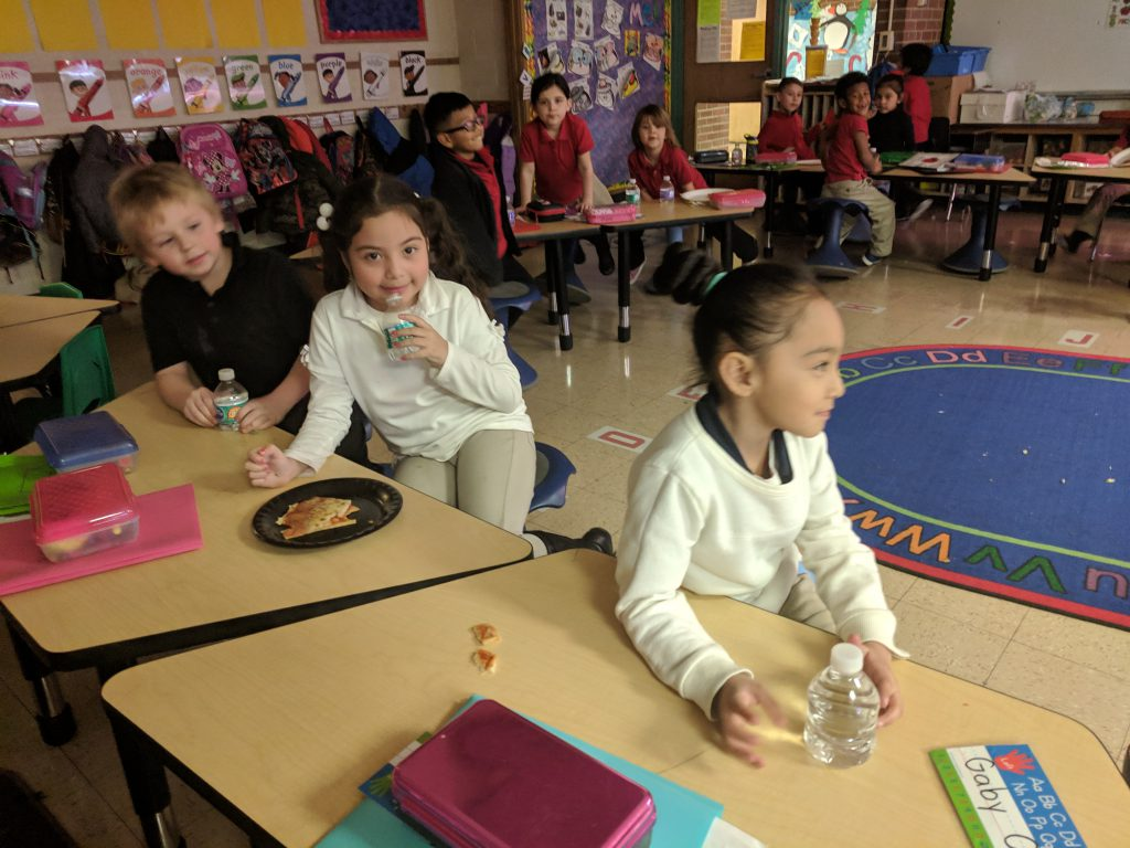 Students earned a Pizza Party by winning the United Way Penny Wars!! Photo Credit: Ms. Quaas
