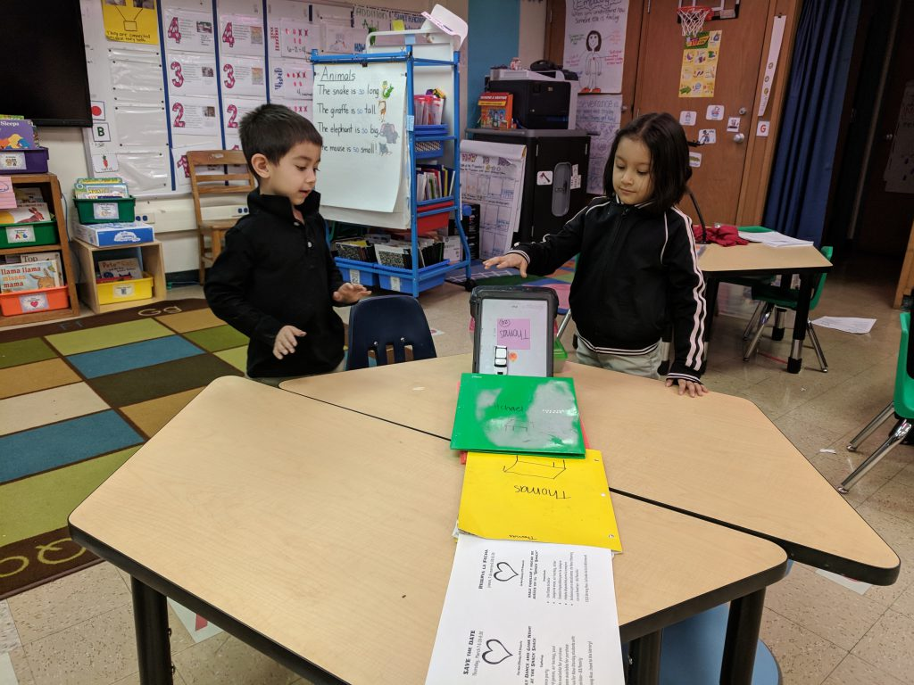 Students in kindergarten learn about forces and motion. We learned about push and pull. Then we learned about ways that objects can move. We experimented to see how the wheels on the car move (slide, roll, or spin). Then we made ramps to see if we could build a ramp that will allow our car to roll the furthest distance. Photo Credit: Ms. Quaas