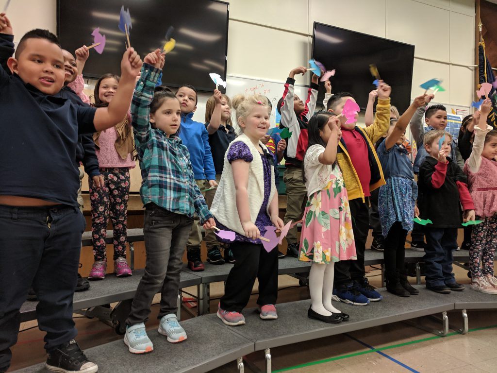 Kindergarteners performed songs and motions for the book Not Quite Narwhal by Jessie Sima. They did a fabulous job! Photo Credit: Ms. Quaas