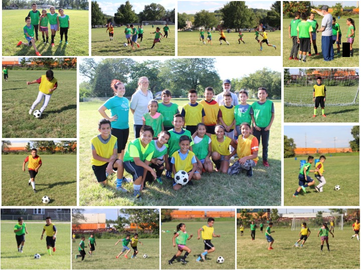 collage of soccer practice